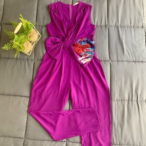 Purple jumpsuit with sequined bow